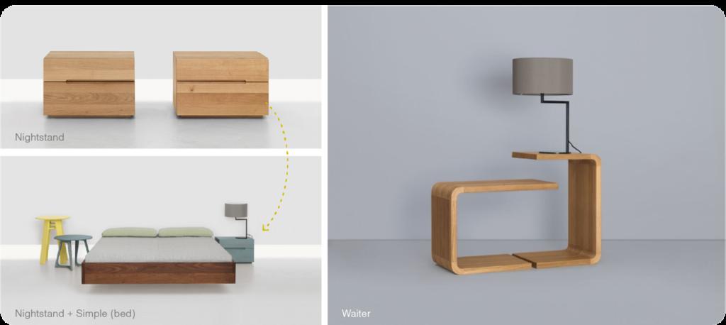 houten design nachtkastje en nachttafeltje