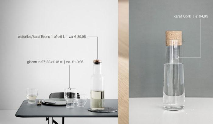 design waterfles, karaf en glazen van bed habits