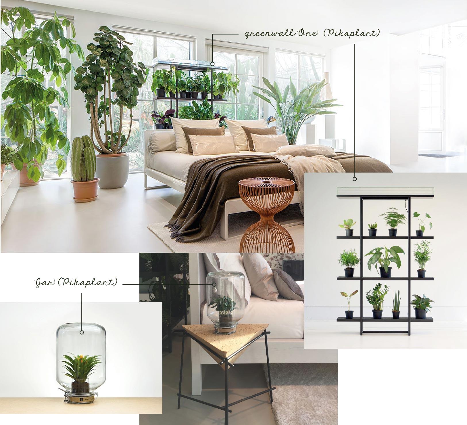 groen in slaapkamer met one en jar bij bed habits