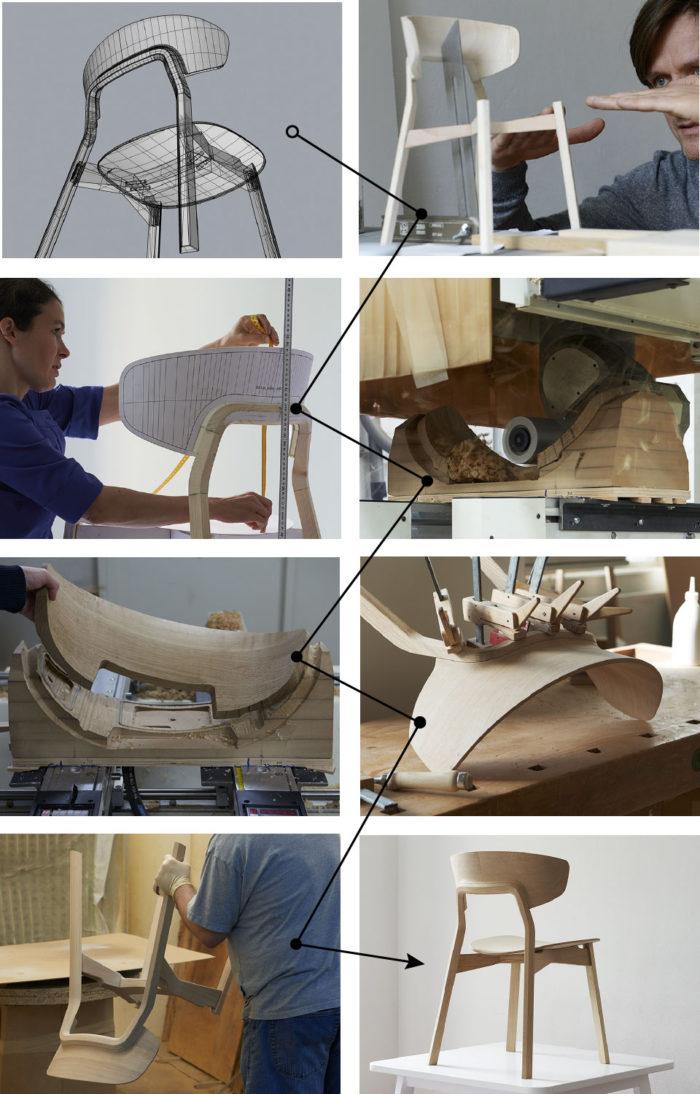 ontwikkelproces houten design stoel noto