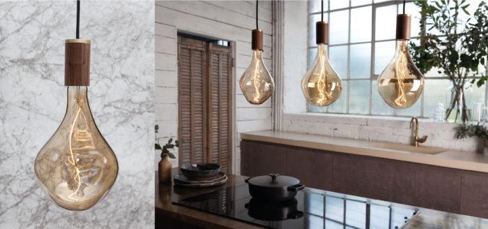 design hanglamp met houten fitting